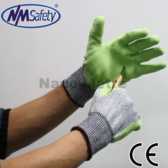 Nmsafety DMF Free Water Base PU Coated ANSI A4 Cut Resistant Work Glove