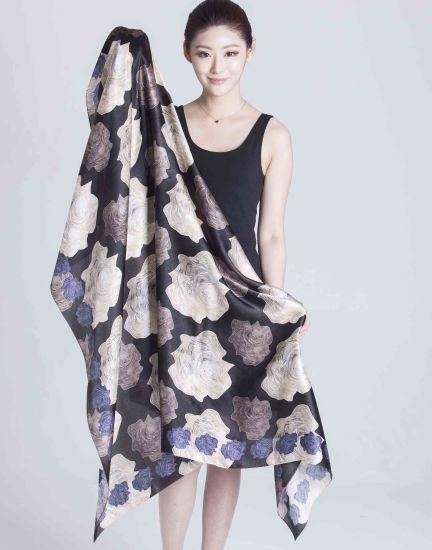 2017 New Style 100% Women Silk Satin Scarf