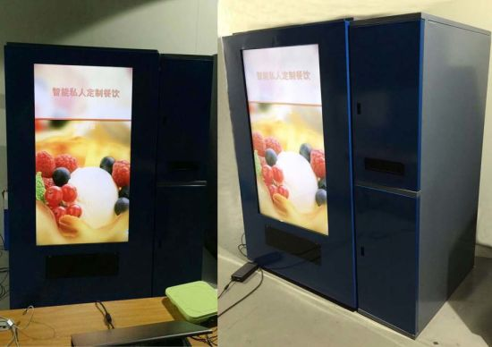 Smart Food Vending Machine Conveyor Belt, 55 Inch Touch Screen W/ Elevator for Sell Quick Food, Cakes, Bread, Milk, Yogourt, Vegetable, Soup, Noodles, Fruit,