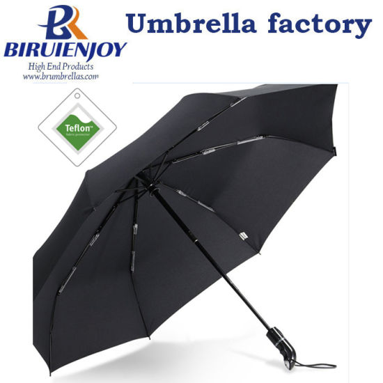 Strong 8 Ribs Finest Windproof 3 Folding Umbrella with Teflon Coating