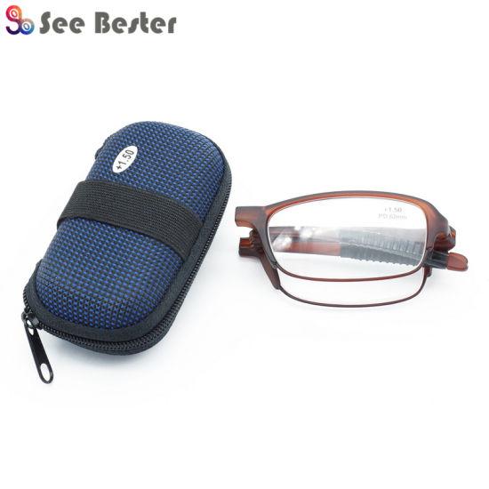 High Quality Very Good Sale Tr90 Pocket Folding Reading Glasses with EVA Zipper Case