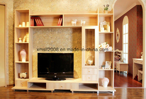 Modern Solid Wooden TV Cabinet with Side Showcase