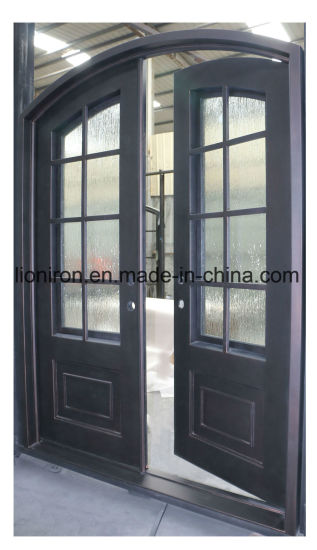 China America Steel Double Door Security Wrought Stock Iron Entry