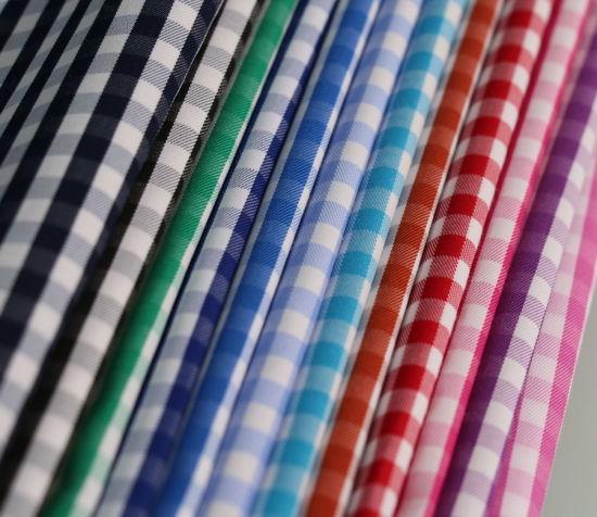 Checks Twill CVC Yarn Dyed Shirt Fabric