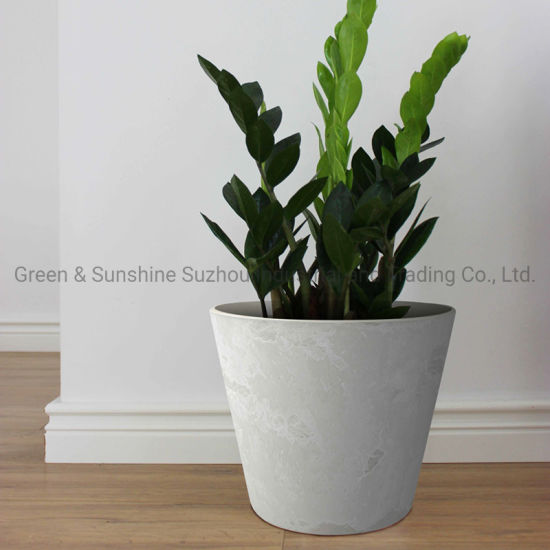 Home Decoration Plastic Round Flower Pot Plant Pot with Stone Effect for Indoor and Outdoor Garden Planter