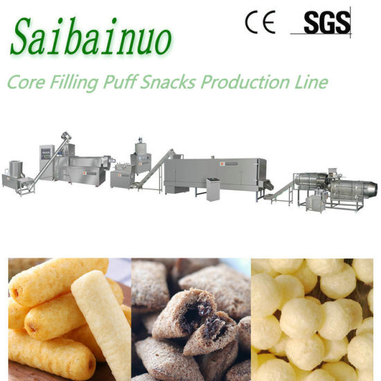 Corn Chips Twin Scew Extruder Puffed Food Production Plant Pillow Core Filling Snacks Food Processing Line Manufacturing Equipment Puff Snack Making Machine