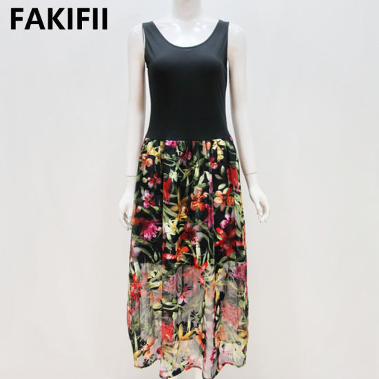 Fakifii Manufacturer 2021 Summer New Designs Holiday Beach Vestidos Slim Dress Flower Print Vintage Dress for Women