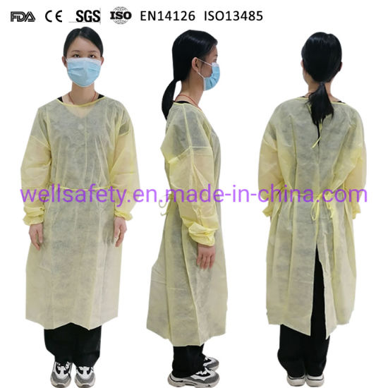 Non Medical Isolation Gown PP/PE/SMS/CPE Protective Clothing AAMI Level 2 3 Gown L XL XXL Yellow Blue White Gown Non Sterile Disposable Coverall Suits Factory