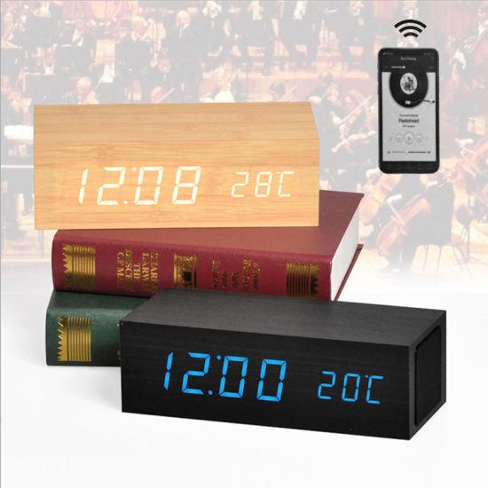 New Nightlight Bluetooth Speaker MDF LED Wooden Digital Alarm Desk & Table Clocks