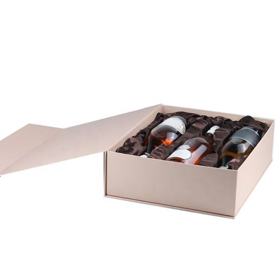 Wholesale Foldable Cardboard Paper Packaging Box Breakage-Proof for Wine Bottle Glass Gift Box