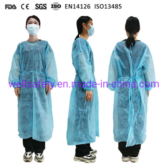 FDA CE ISO SGS AAMI Antistatic Waterproof Gown and Isolation Suit with PP + PE Non Woven with Waterproof and Dustproof Surgeon CPE Disposable Dust Coat Workwear