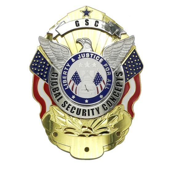 Commemorate with Baking Finish in Zinc Alloy Emblem with Gold Plating From China Metal Custom Security Police Badges