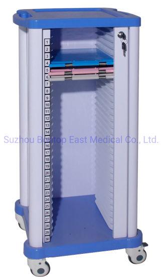 Hospital Medical Historical Chart Holder Record Trolley/Case History Folder Cart (30 case) ODM OEM