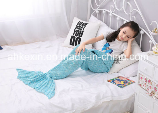 70% Orlon and 30% Cotton Fabric Handmade Mermaid Blanket pictures & photos