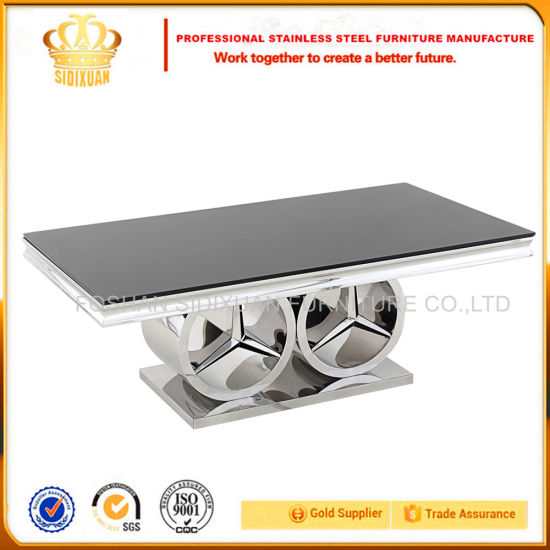 Stainless Steel Furniture Square Modern Design Glass Top Center Table