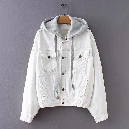 Casual Hooded White Women Denim Jacket