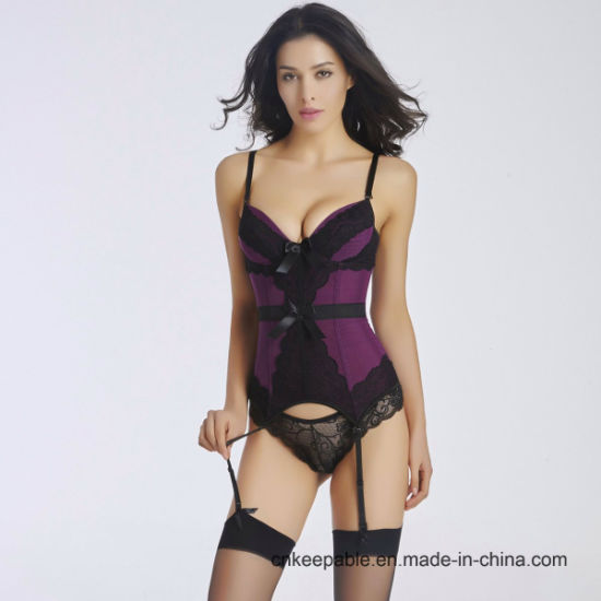 Women′s Fashion Sexy Lace Boned Bustier Corset Garter Lingerie Sets pictures & photos
