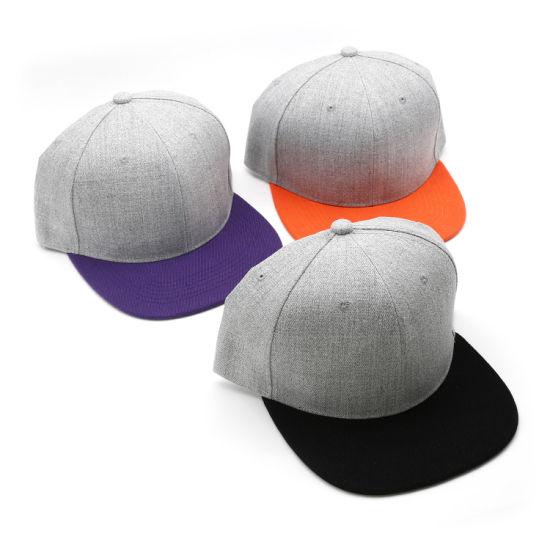 Fashion Light Heather Grey 6 Panel acrylic Blank Snapback Caps