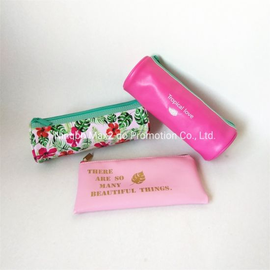 Nappa PU Coral Pink Contrast Turquoise Zipper Tropical Love Promotion Makeup Bag pictures & photos