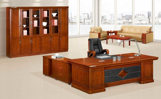 Glossy Walnut Office Desk With Movable Side Table