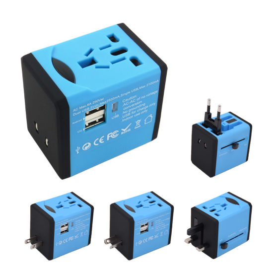 Global Travel Adapter with 2 USB Charger, Travel Adaptor with 2 USB Apply to Over 150 Countries, Travel Adapter with USB