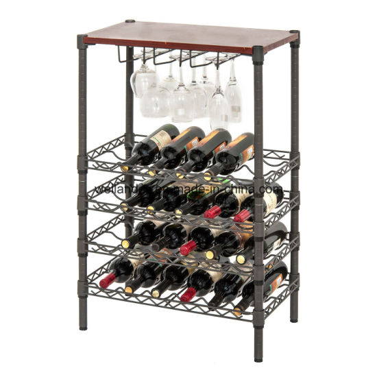 2017 Wholesale 5 Tiers Adjustable Display Metal Frame Wire Shelf Wine Rack for Household pictures & photos