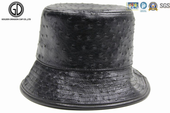 New Style PU Leather DOT Black Cool Fisherman Bucket Hat pictures & photos