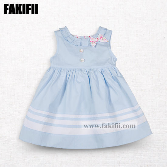 Factory High Quality Fashion Baby Apparel Kids/Children Clothes Girl Blue Cotton Princess Party Dress