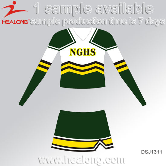 Healong Dye Sublimated Sportswear Printed Costume Cheerleading Uniform on Sale pictures & photos