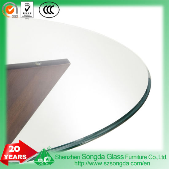 Beveled Edge Tempered Glass Table Top With Metal Discs Bonded