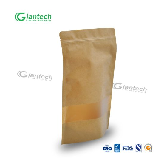 Hot Item Kraft Paper Bag With Clear Window Stand Up Pouch Zipper For Nut Dryfurit