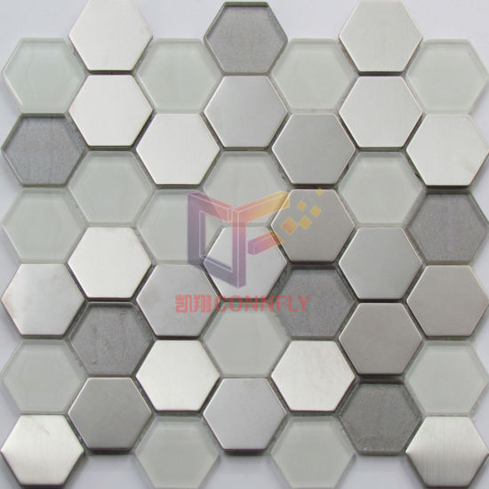 Latest New Hexagon Shape Crystal Mix Stainless Steel and Aluminium Mosaic (CFM969) pictures & photos
