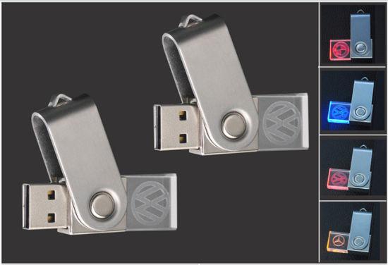 LED Light Crystal Pendrive Swivel USB Flash Drive with 3D Engraving Logo