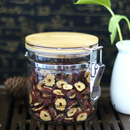 Stainess Steel Clasp Glass Food Storage Jar with Bamboo Lid pictures & photos