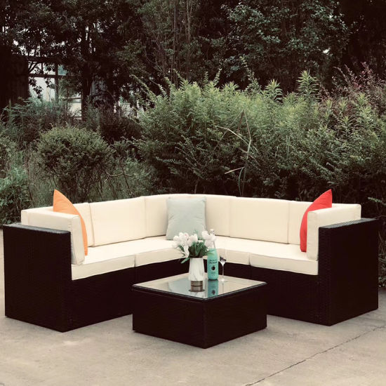 Outdoor Garden Luxury 6PCS Rattan Furniture Wicker Couch Conversation Corner Sectional Sofa with Cushion