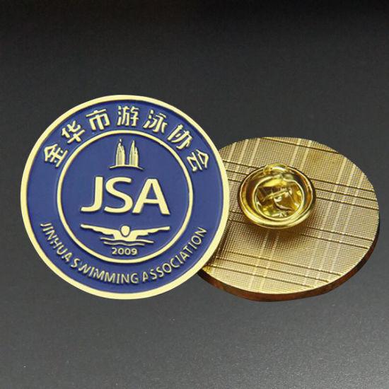 Custom Anniversary Circle Shape Logo Metal Emblem/Enamel Badge Fashion Embossed Decoration Accessories Lapel Pin for Promotion Gift (BG67)