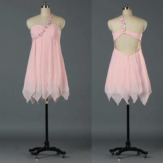 bfbd06e5637c Women′s Sexy Backless One Shoulder Short Pink Cocktail Homecoming Dresses  E141