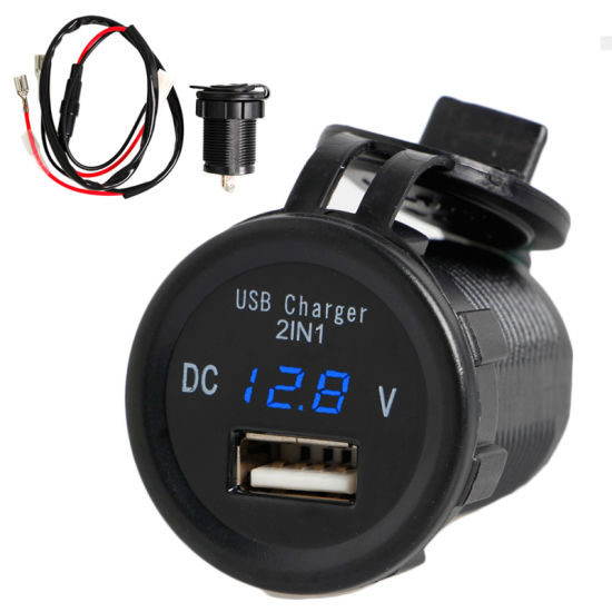 2in1 LED 2.1A USB Charger Port Phone Voltmeter for Car Motorcycle Waterproof