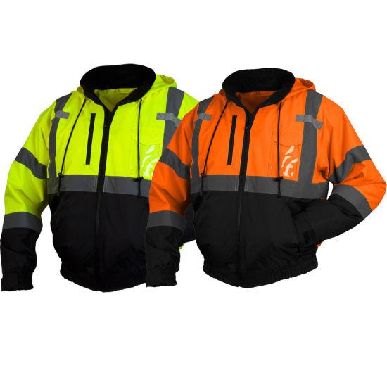 Reflective Safety Clothing High Visibility 5 in 1 Removable Fleece Liner Jacket Black Bottom Bomber Jacket