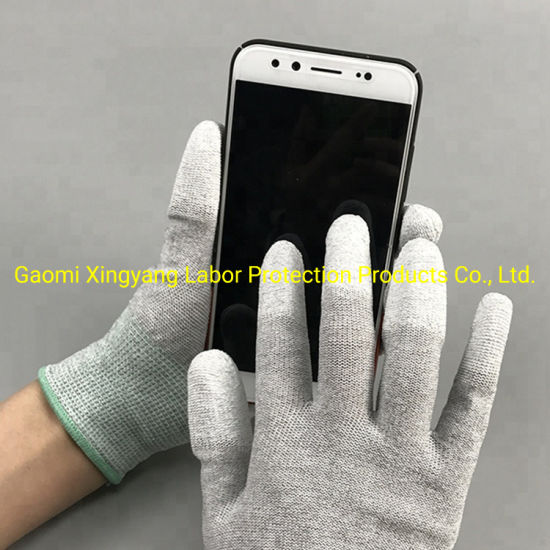 ESD Carbon Fiber Liner with PU Top Fit or Palm Coated Safety Work Gloves with CE Certificated