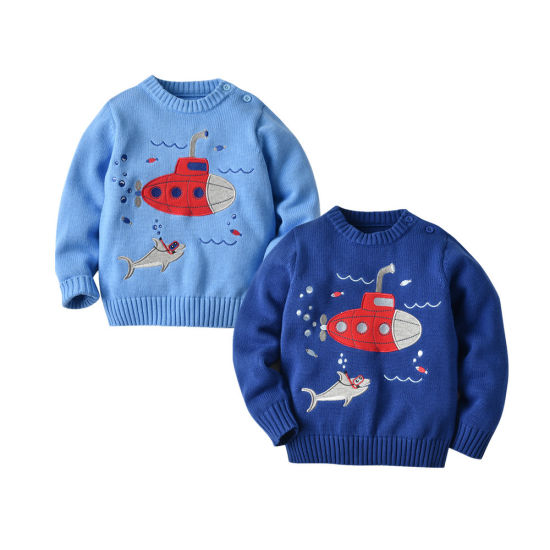 Children's Sweater Seabed Series Submarine Pattern Pullover Knitwear