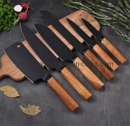 6 PCS Black Coating 3cr14 Kitchen Knife Set with Wooden Handle pictures & photos