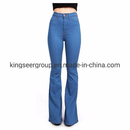OEM/ODM New Arrival Fashion High Waist Denim Jeans Women/Ladies Flared Jeans Ks-D013