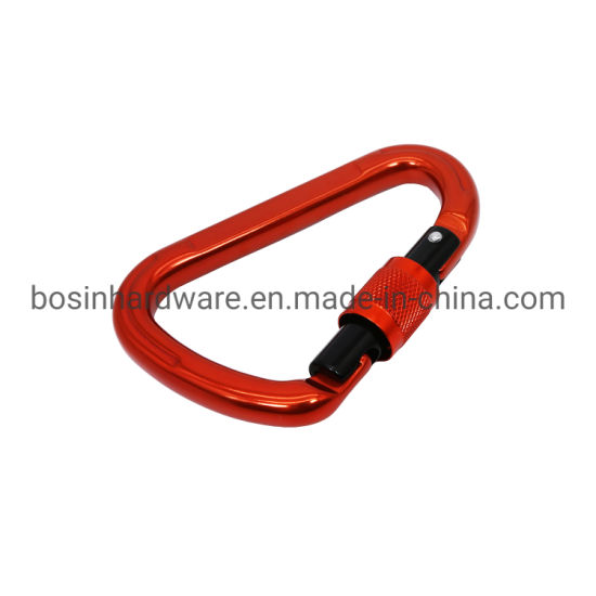 Red D Shape 7075 Aluminum Locking Carabiner 12kn pictures & photos