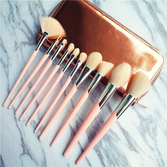 10PCS Pink Synthetic Makeup Brushes Travel Set Foundation Powder Contour Blush Eye Cosmetic Brush Sets in