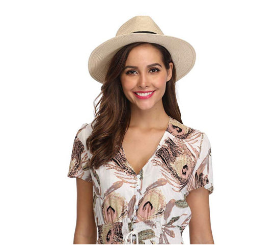 High Quality Low Quantity Women Wide Brim Straw Panama Roll up Hat Fedora Beach Sun Hat Upf50+