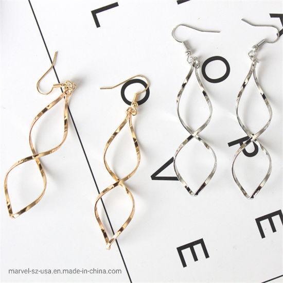High Quality Fashion Double Loop Wave Drop Earrings Wedding Jewelry