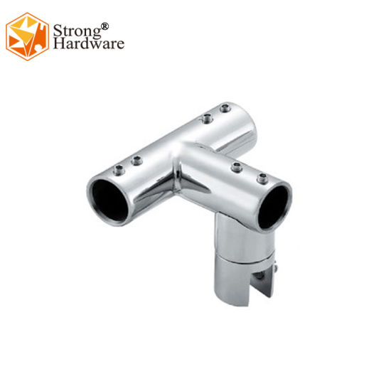 Stainless Steel Three Way Bathroom Hardware Glass Door Tube Connector