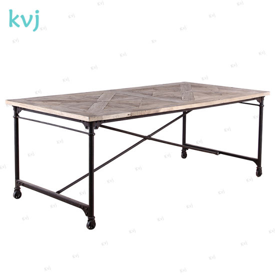China Kvj 7224 Movable Steel Base Industrial Reclaimed Wood Dining Table China Dining Table Rustic Table