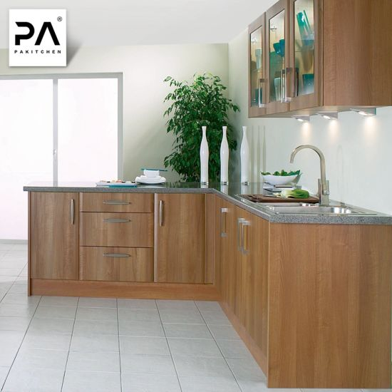 Contemporary Luxury Wood Grain Laminate Kitchen Cabinets Design Pantry  Cupboard